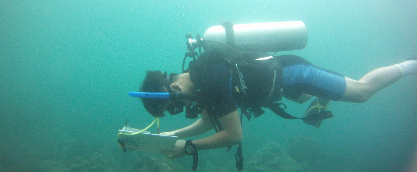 A Projects Abroad volunteer taking his divemaster course and checking notes underwater